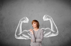 personal strength, woman flexing muscles