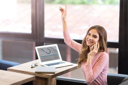 be visible, women raising her hand